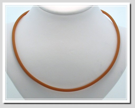 3MM Brown Rubber Cord Necklace with 14K Gold Lobster Claw Clasp 24 In.