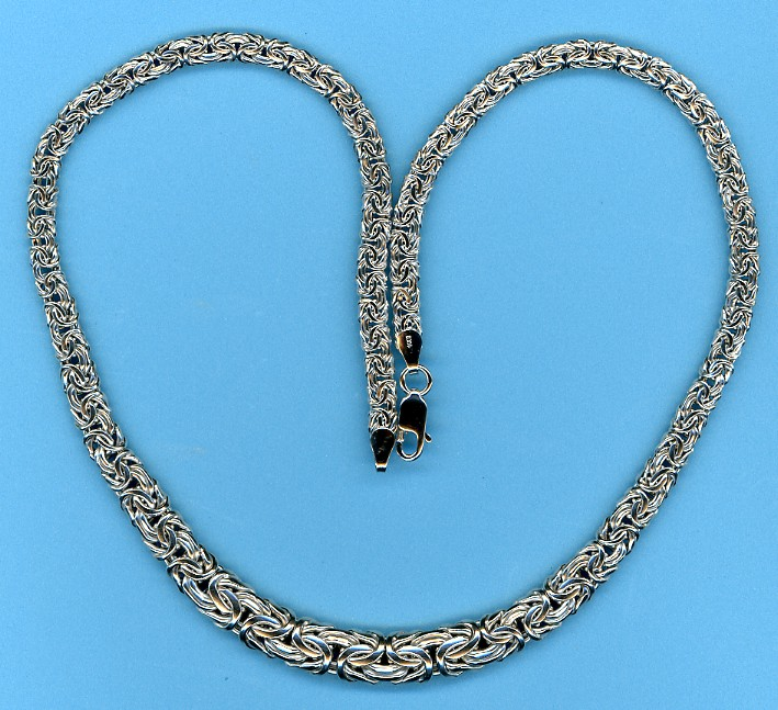 4.5-8.5MM Graduated Byzantine Chain, 14K White Gold, 17 In.