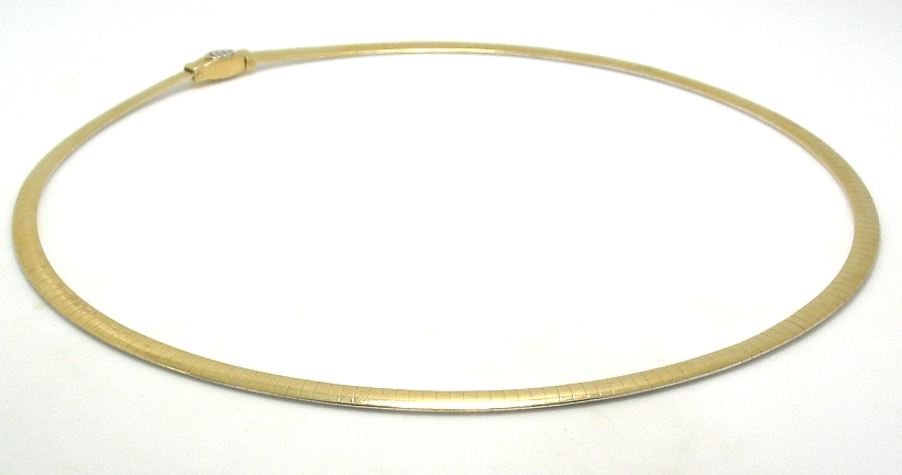 4MM Reversible Flat Omega Chain, 14K Yellow & White Gold, 16In. 20.4 Grams
