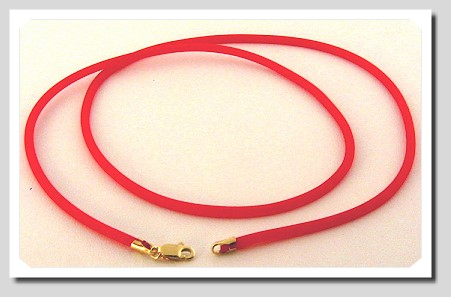 2MM Cherry Color Rubber Cord, 14K Yellow Gold, 18 In.