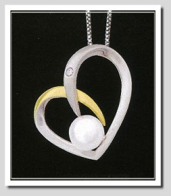 Daring Diamonds Pearl Collection: Pearl Diamond Pendant Chain Silver/14K
