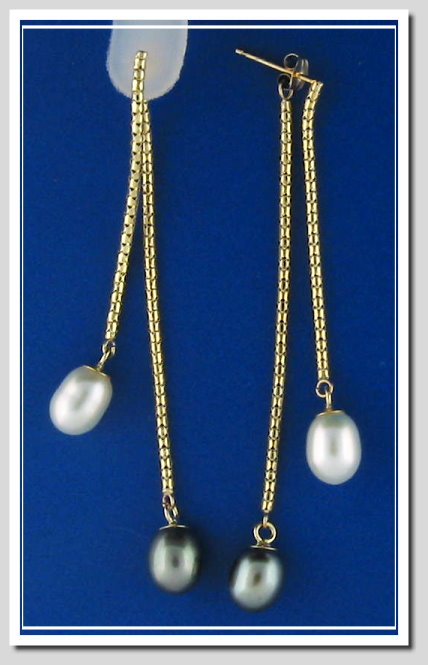7.5X8.5MM White/Black Freshwater Pearl Lariat Earrings, 14K Yellow Gold, Exchangable