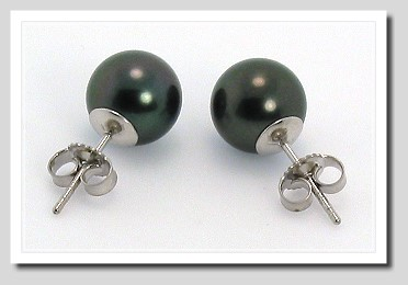 8.7MM Black Tahitian Pearl Earring Studs 14K White Gold