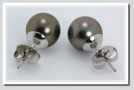 9.33MM Dark Gray Tahitian Pearl Earring Studs 14K White Gold