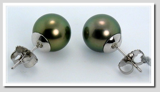 10MM Peacock Tahitian Pearl Earring Studs 14K White Gold