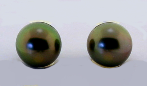 8.9MM Dark Gray/Green Tahitian Pearl Earring Studs, 18K Yellow or White Gold