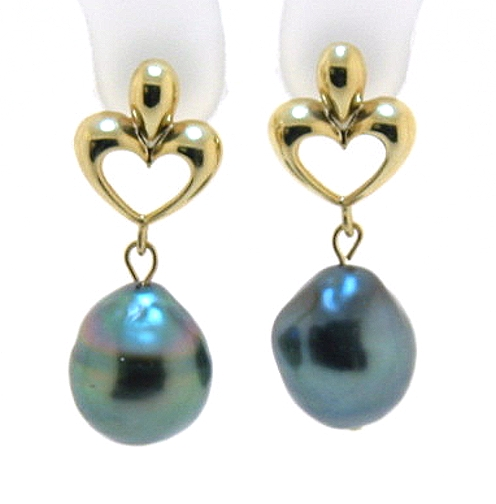10X11.8MM Gray/Blue Tahitian Pearl Dangel Heart Earrings, 14K Gold