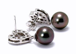 8.7MM Black/Red Tahitian Pearl Diamond Heart Earrings, 14K White Gold