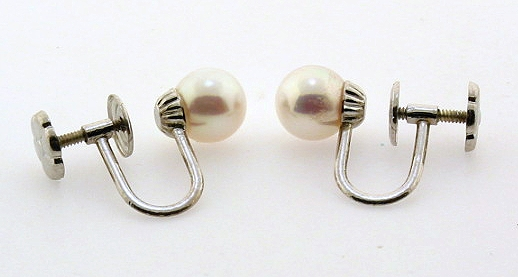 AAA 6-6.5MM White Akoya Pearl Screw On Earrings, 14K White Gold