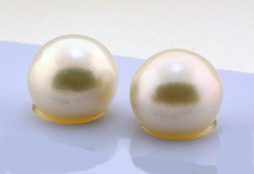 Certified 12.1MM White South Sea Pearl Earring Studs, 18K Gold
