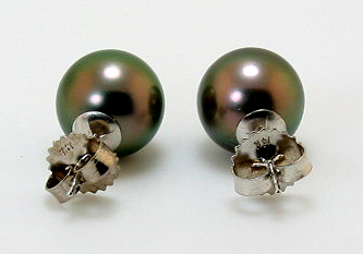 10.1MM Peacock Tahitian Pearl Earring Studs, 14K White Gold