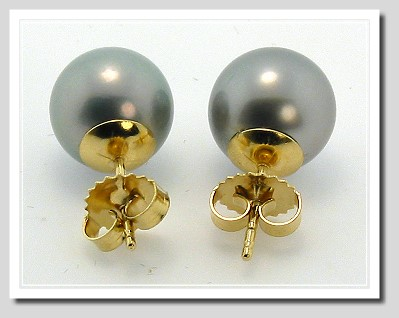 10.35MM Gray Tahitian Pearl Earring Studs 18K Yellow Gold