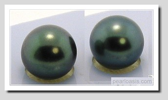 11.25MM Gray/Blue Tahitian Pearl Earring Studs, 18K White Gold