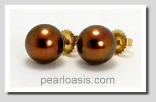 10.5MM Brown/Green Tahitian Pearl Earring Studs 14K Yellow Gold