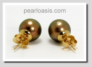 10.1MM Chocalate Brown Tahitian Pearl Earring Studs 14K Yellow Gold