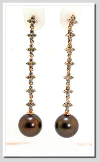10.85MM Dark Chocolate Tahitian Pearl Diamond Earrings 1 ct. 18K Rose Gold