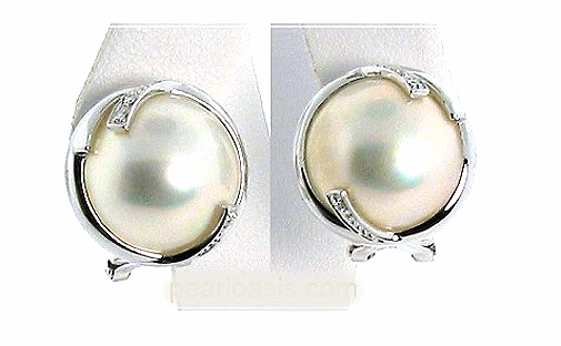 13MM Japanese Mabe Pearl Diamond Earrings Omage Clip 14K White Gold