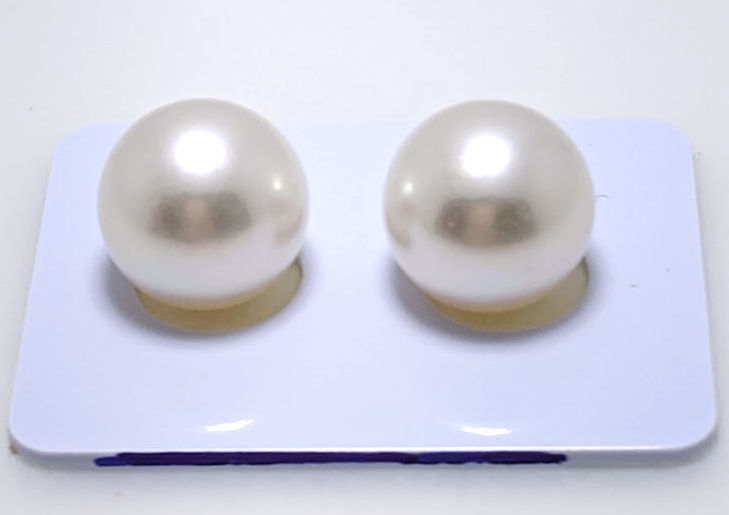 12.4MM White Round South Sea Pearl Earring Studs, 18K Gold