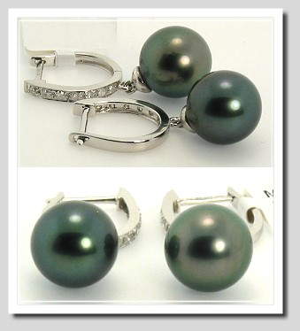 9.4MM Tahitian Pearl Diamond Dangle Earrings 14K White Gold