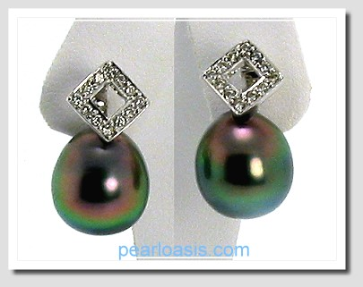 10.7X11.9MM Peacock Tahitian Pearl Diamond Earrings 14K White Gold