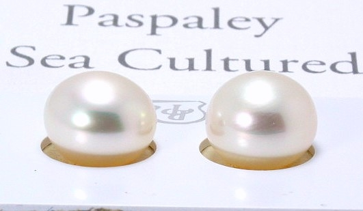 Certified 12.6MM White South Sea Pearl Earring Studs; 18K Gold