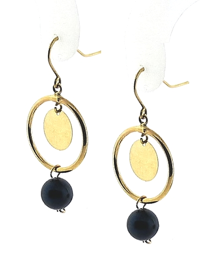 AA+ 6-6.5MM Black Akoya Pearl Gold Circle Dangle Earrings, 10K Gold
