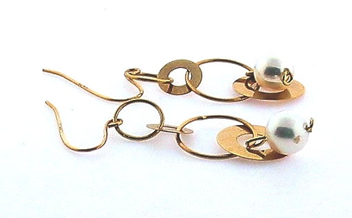 AAA 5.5-6MM White Akoya Pearl Gold Circle Dangle Earrings, 14K Yellow Gold