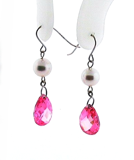 AAA 5.5-6MM White Akoya Pearl Pink Crystal Dangle Earrings, 14K White Gold