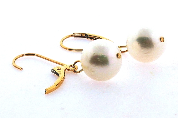 9.6-10MM White Freshwater Pearl Dangle Earrings, 14K Yellow Gold Leverbacks