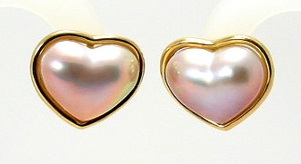 17x20mm Pink Heart Shape Mabe Pearl Earrings 14k Yellow Gold Omega Clips