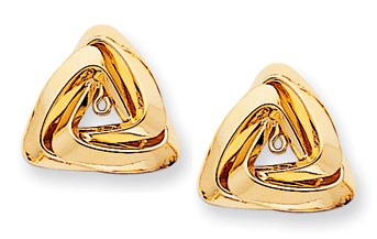 Pearl Studs w/Large Triangle Jackets, 14K Yellow Gold