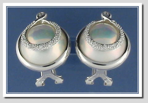 13.3MM Japanese Mabe Pearl Earrings w/Diamond, 14K White Gold w/Omega Clip