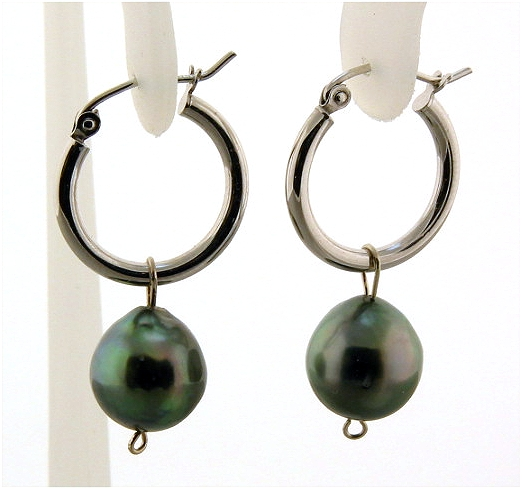 10MM Tahitian Pearl Charm Hoop Earrings, 10K White Gold