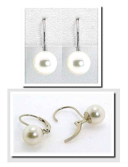 7.5-8MM White Akoya Pearl Leverback Earrings 14K White Gold