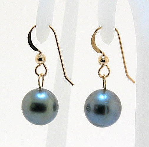 9.5MM Gray Tahitian Pearl Dangle Earrings, 14K Yellow Gold French Wires