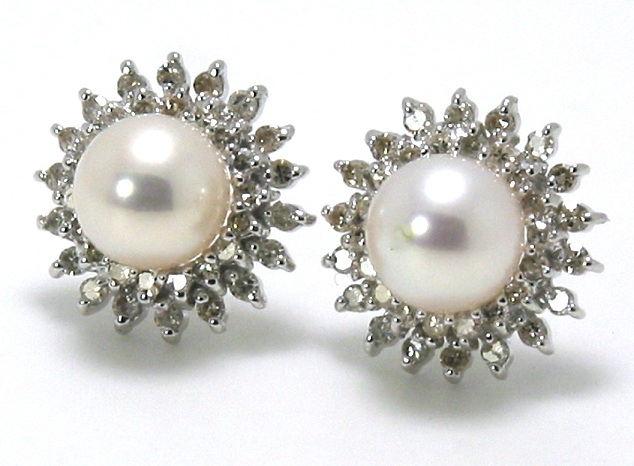 6.5-7MM White Cultured Pearl Earrings w/Double Row Diamonds 14K White Gold
