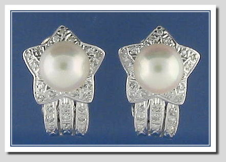 8.1MM White Akoya Cultured Pearl Diamond Earrings w/Omega Clip 14K White Gold