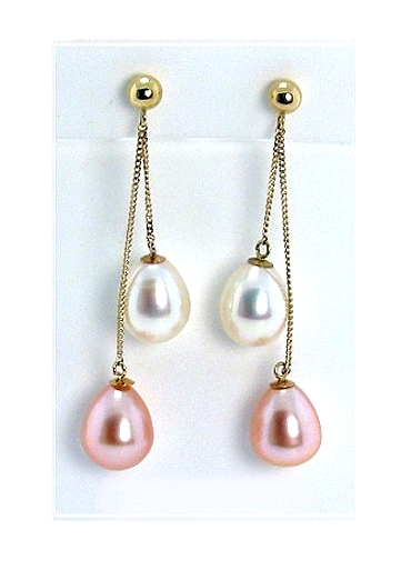 AAA 7X8MM Multi Pink White FW Pearl Dangle Earrings 14K  Gold