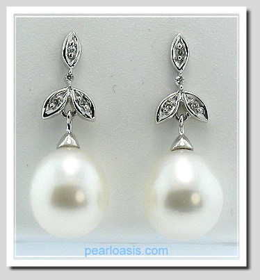 AAA 9X10MM White FW Pearl Diamond Dangle Leaf-Style Earrings 14K White Gold