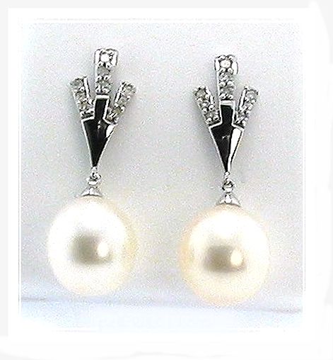 AAA 9X10MM White FW Pearl Diamond Dangle Earrings 14K White Gold