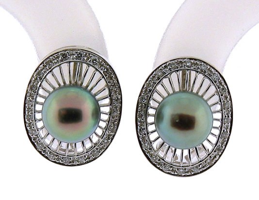 7.7MM Black Japanese Akoya Cultured Pearl Earrings w/Diamonds, 14K White Gold