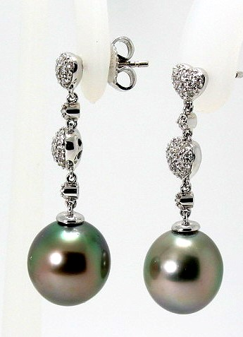 10.7MM Dark Gray Tahitian Pearl Diamond Dangle Heart Earrings;18K White Gold