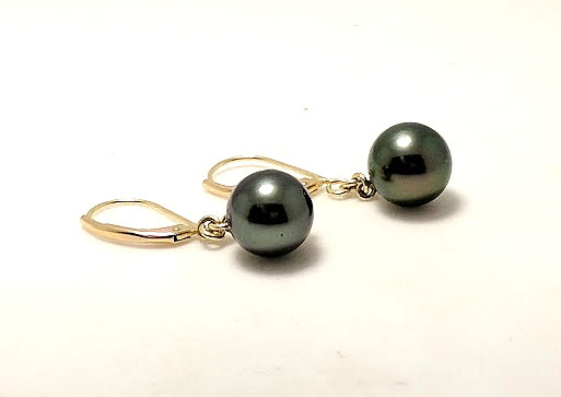 9MM Black Tahitian Pearl Dangle Earrings, 14K Yellow Gold