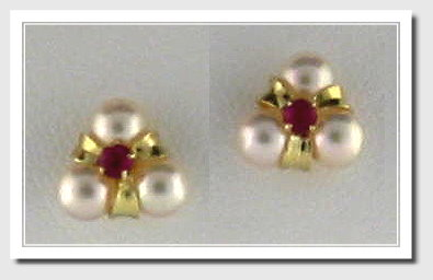 Three Cultured Pearl Earring w/Ruby, 14K Yellow Gold