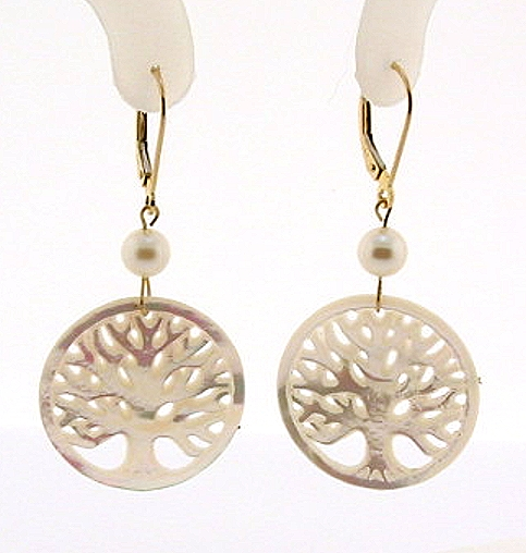 Tree Of Life Earrings, Akoya Pearl & Mother Of Pearl Carving, 14K Gold