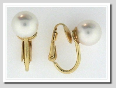 AAA 8-8.5MM White Akoya Cultured Pearl Clip-On Earrings, 14K Yellow Gold