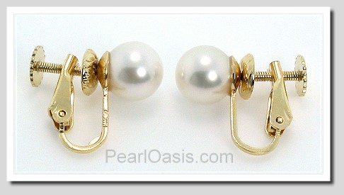AAA 8-8.5MM White Japanese Akoya Pearl Clip On Earrings 14K Gold Hinged Screw Backs
