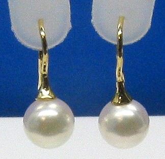 AAA Grade 8-8.5MM Japanese Akoya Cultured Pearl Earrings 14K Yellow Gold French Hoop