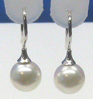 AAA Grade 8-8.5MM Japanese Akoya Cultured Pearl Earrings 14K White Gold French Hoop
