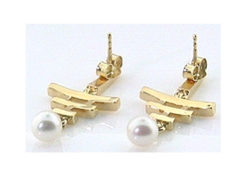 Designers Earrings White Akoya Cultured Pearl w/Diamonds, 14K Gold